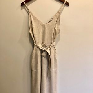 Midi Linen Beige Dress — with pockets!